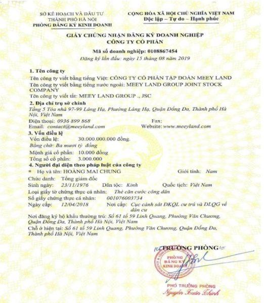 giấy phép kinh doanh meeyland