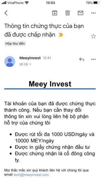 email xác nhận KYC meeyinvest
